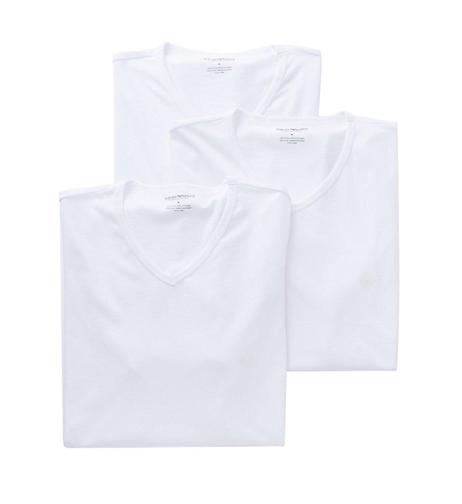 emporio armani 856cc722 essentials pure cotton v-neck - 3 pack (white s)