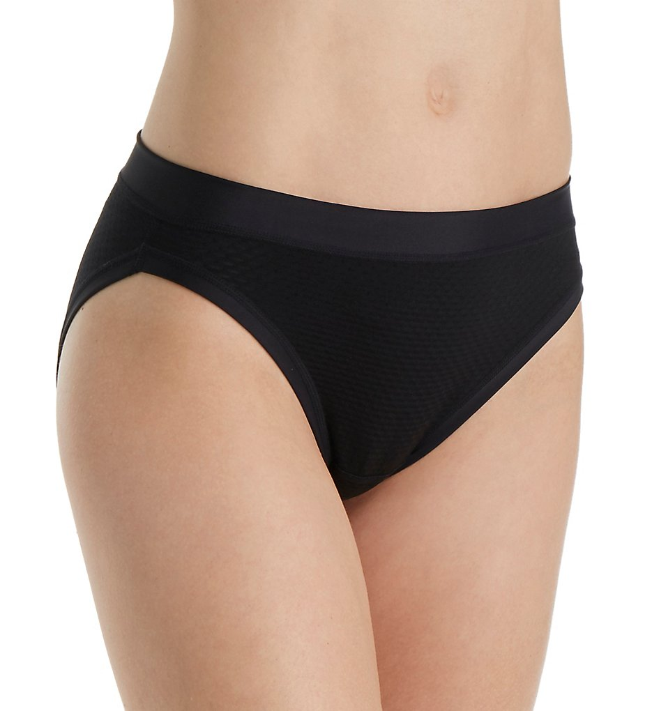 Ex Officio - Ex Officio 2882 Give-N-Go Sport Mesh Hi Cut Brief Panty (Black XL)