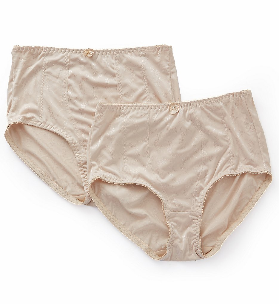 Exquisite Form >> Exquisite Form 070557A Jacquard Shaper Brief Panty - 2 Pack (Nude M)