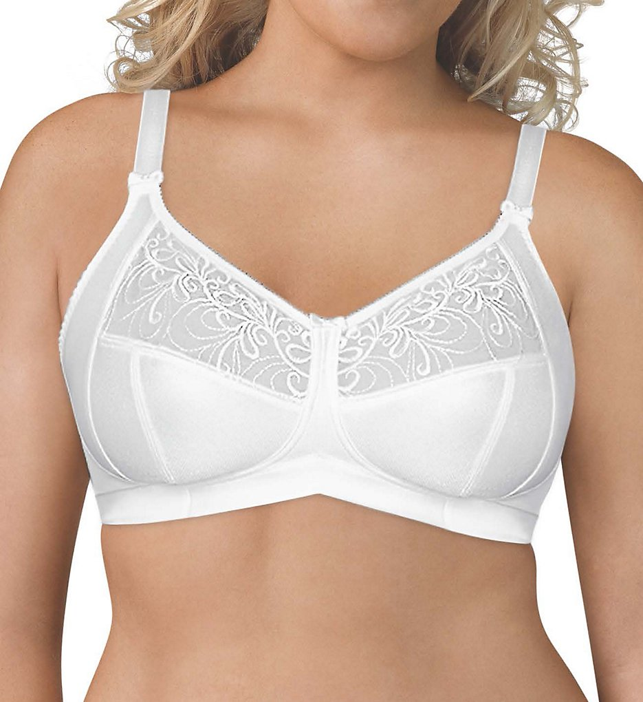 Exquisite Form 5100514 Wirefree 4-Part Cup Bra with Embroidered Mesh (White)