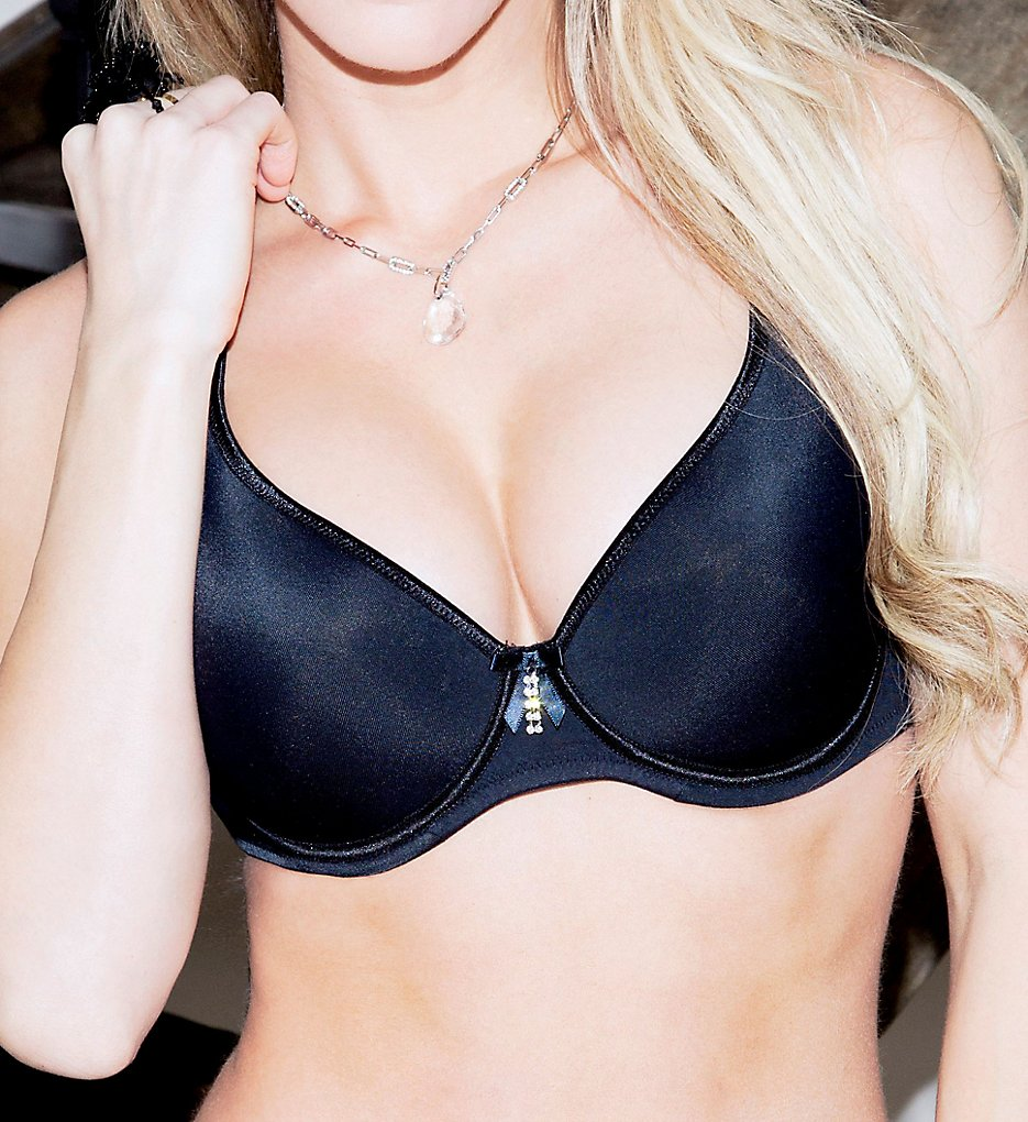 Fit Fully Yours >> Fit Fully Yours B1022 Crystal Smooth T-Shirt Underwire Bra (Black 30B)