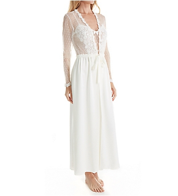 Flora Nikrooz Showstopper Charmeuse Long Wrap Robe With Lace