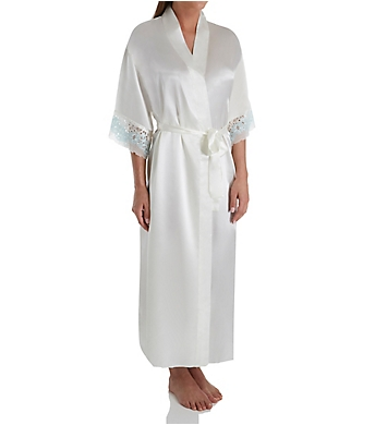 Flora Nikrooz Adore II Charmeuse Robe with Two-Tone Stretch Lace