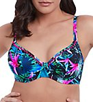 Jungle Flower Underwire Plunge Bikini Swim Top