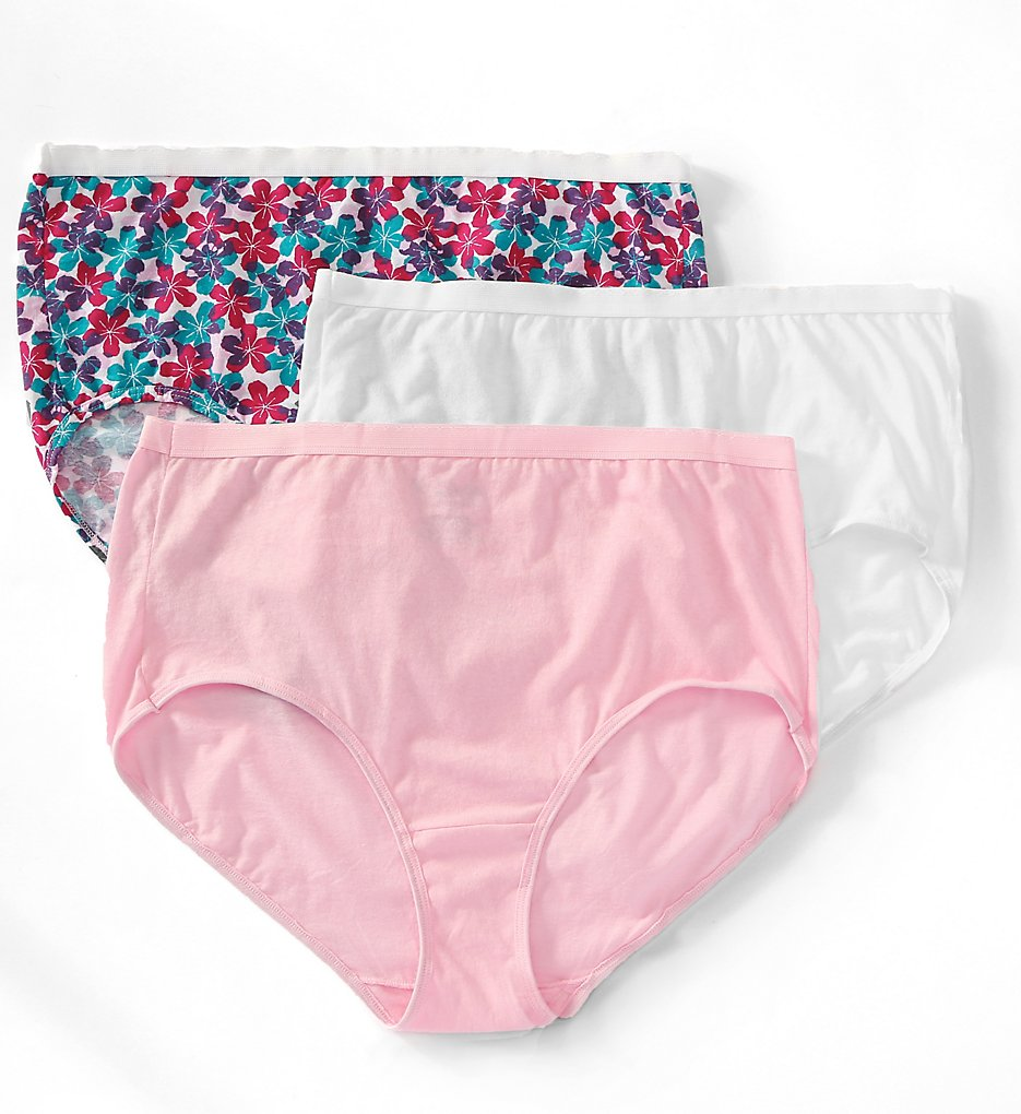 Fruit Of The Loom - Fruit Of The Loom 3DBRASP Fit for Me Plus Size Cotton Brief Panties - 3 Pack (Assorted 9)