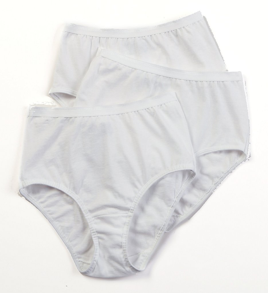 Fruit Of The Loom - Fruit Of The Loom 3DBRIWH Cotton Brief Panties - 3 Pack (White 5)