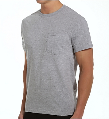 Fruit Of The Loom Big Man Core Cotton Grey Pocket Tee - 4 Pack