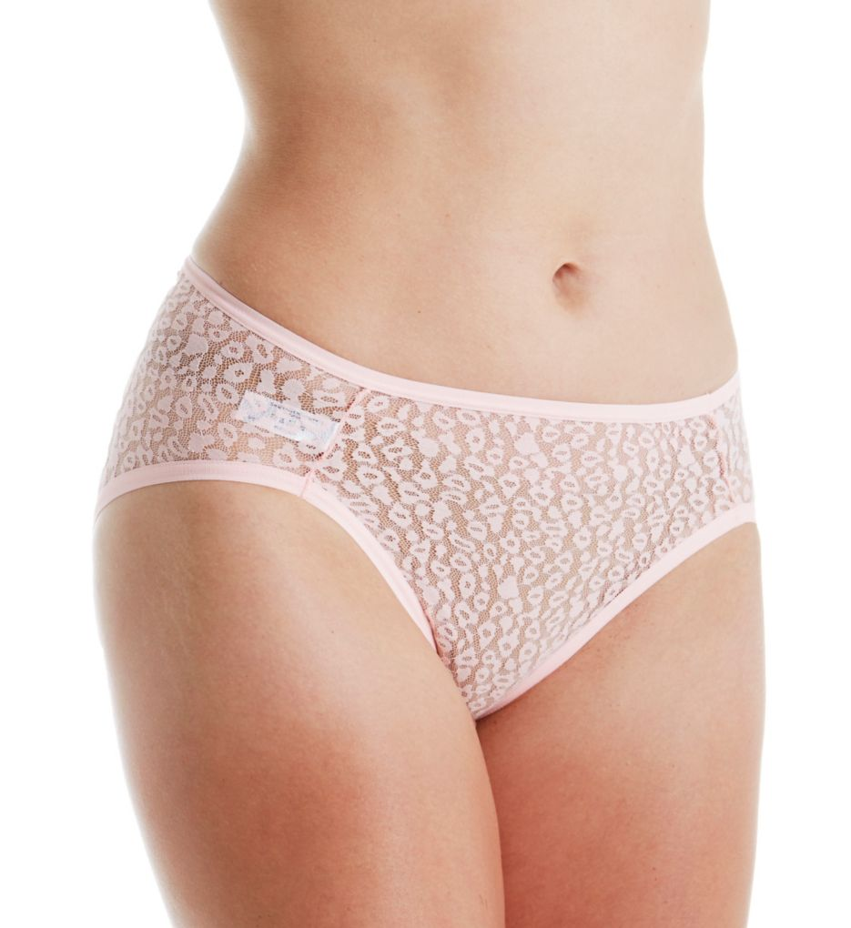 Fruit Of The Loom All Over Lace Hi-Cut Brief Panties - 6 Pack