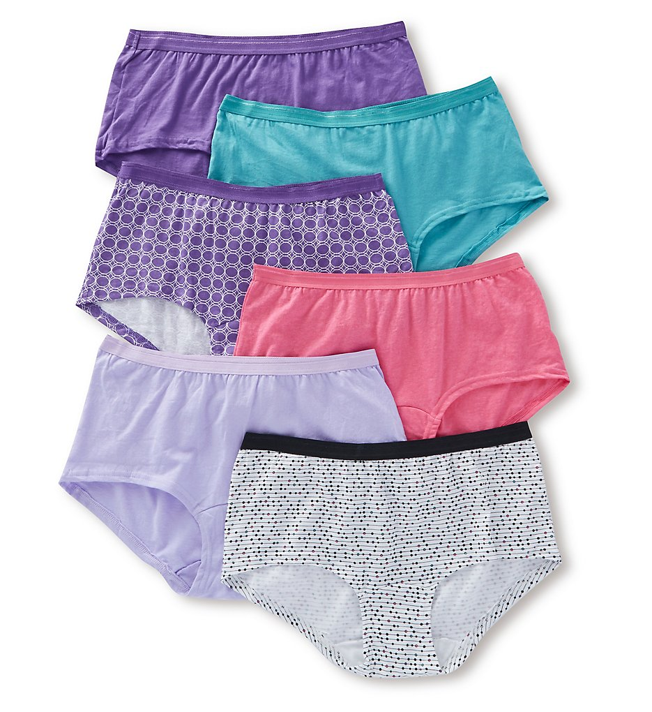 Fruit Of The Loom - Fruit Of The Loom 6DBSTA1 Cotton Assorted Low Rise Boyshort Panty - 6 Pack (Assorted 5)