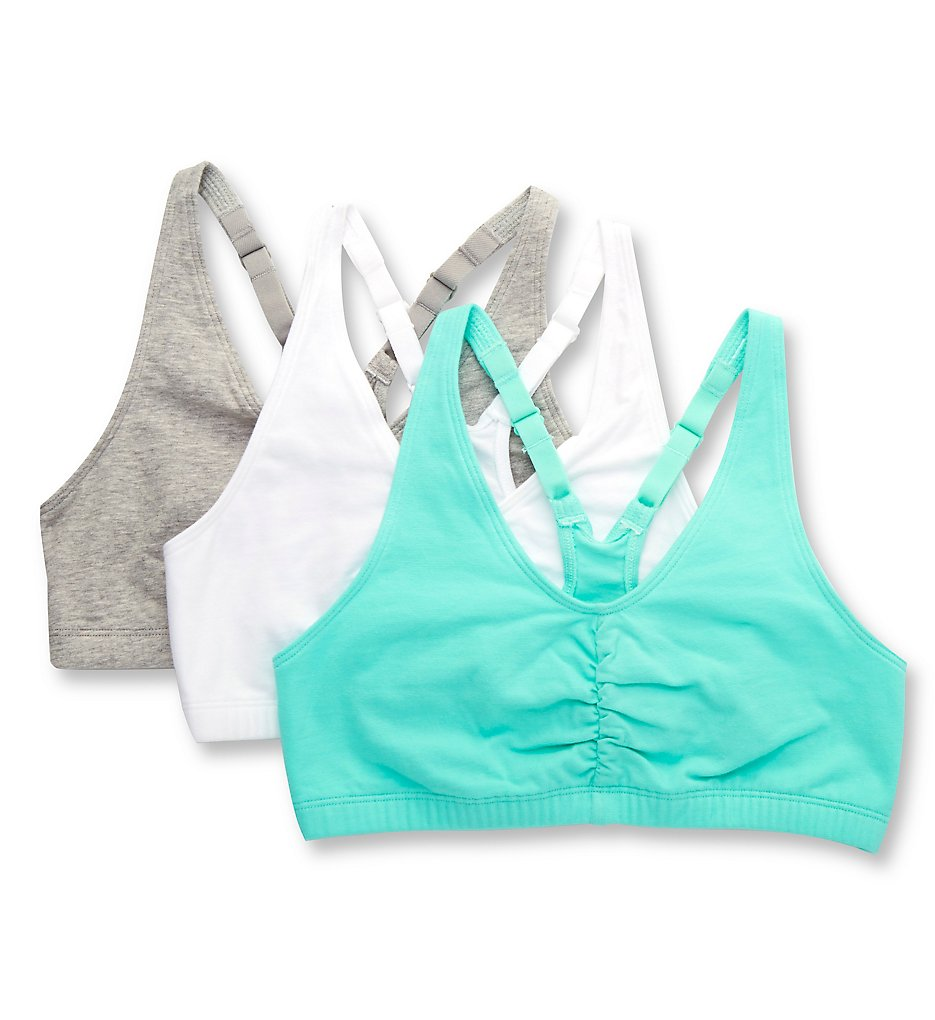 Fruit Of The Loom - Fruit Of The Loom 90011 Shirred Front Racerback Sports Bra - 3 Pack (Mint/White/Grey 48)