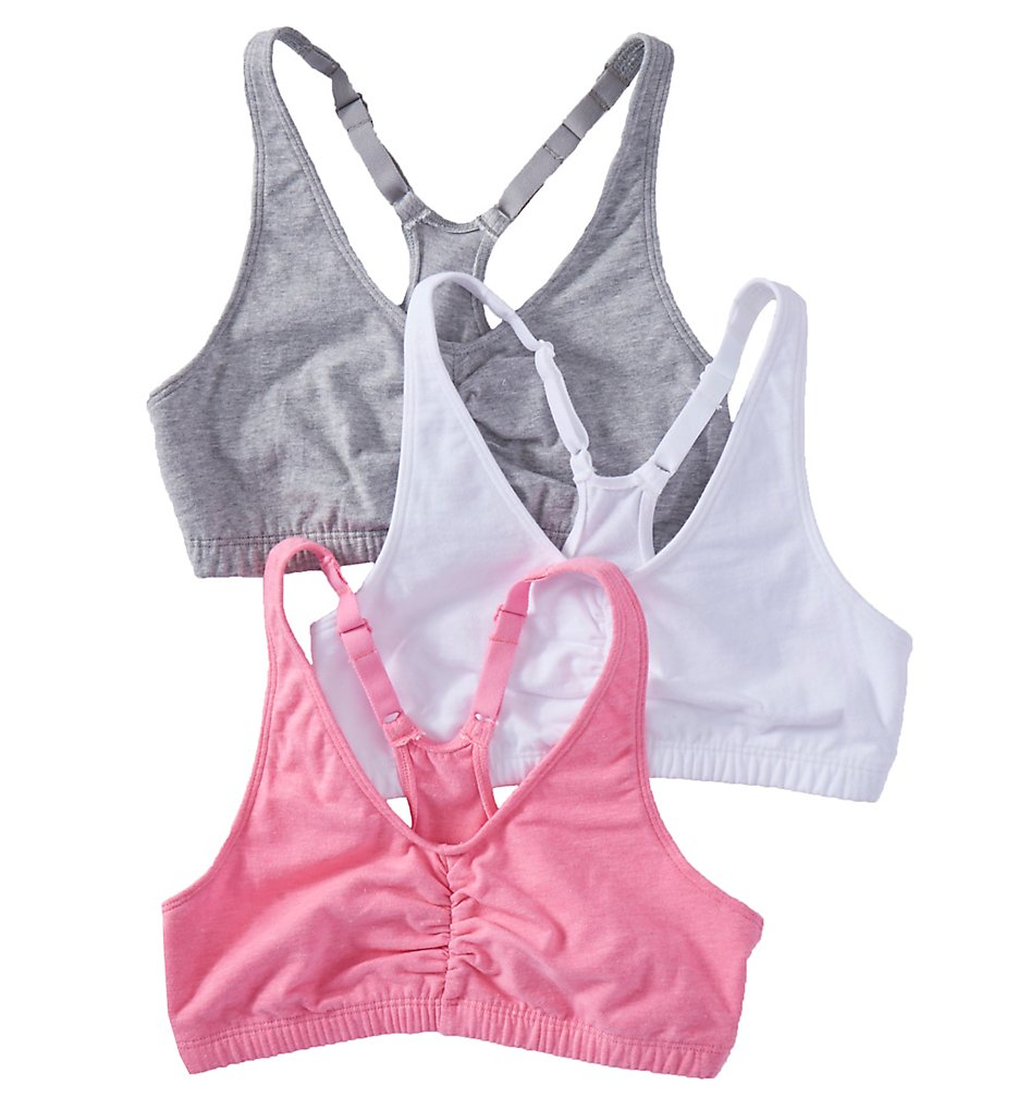 Fruit Of The Loom 90011 Shirred Front Racerback Sports Bra - 3 Pack