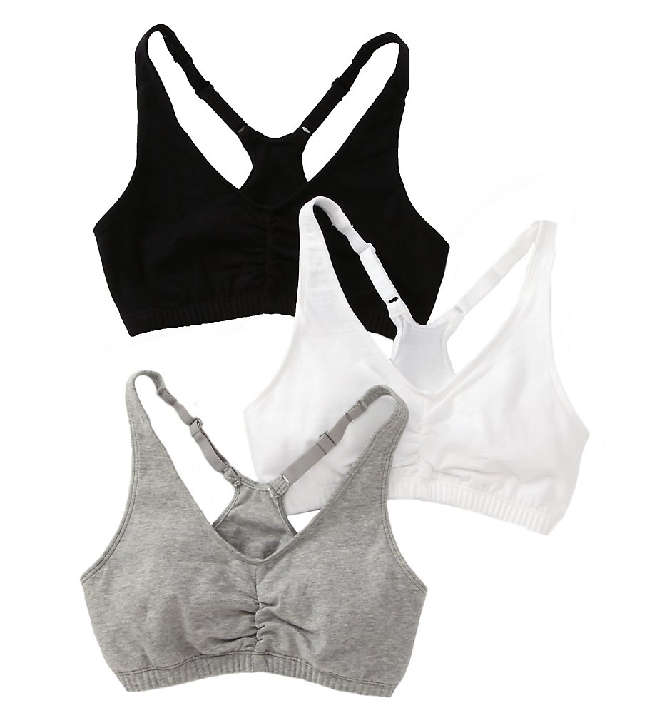 Fruit Of The Loom 90011 Shirred Front Racerback Sports Bra - 3 Pack (White/Black/Grey)