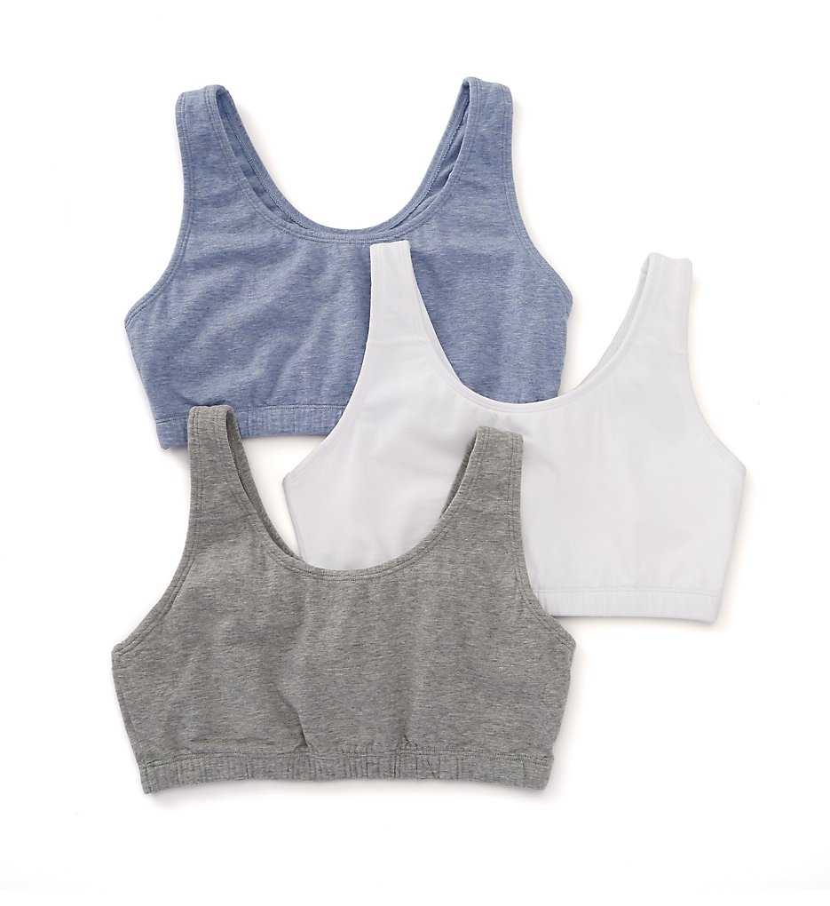 a73f8bb6c7 Fruit Of The Loom 9012 Tank Style Sports Bra - 3 Pack (Grey White Blue 36)