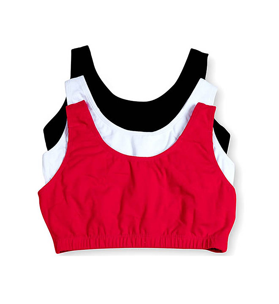 Fruit Of The Loom - Fruit Of The Loom 9012 Tank Style Sports Bra - 3 Pack (Red/White/Black 36)