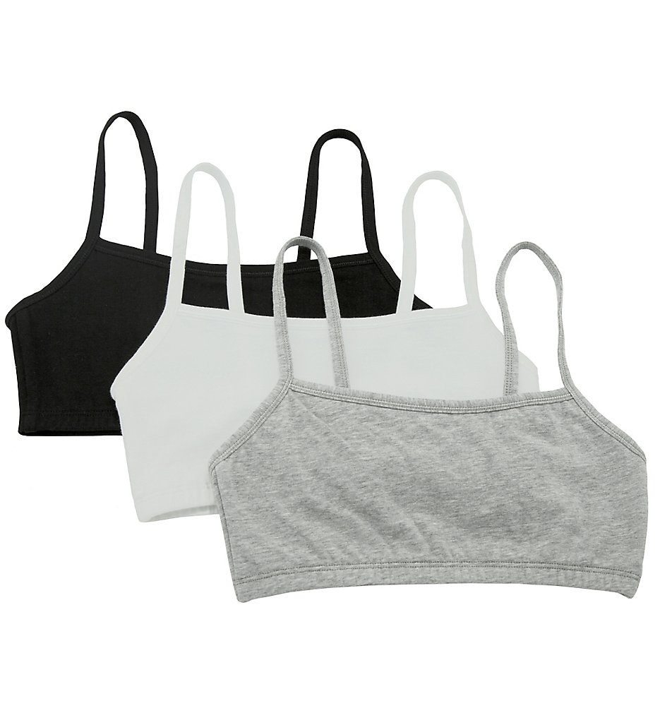 Fruit Of The Loom - Fruit Of The Loom 9036 Spaghetti Strap Short Bra - 3 Pack (White/Black/Grey 32)