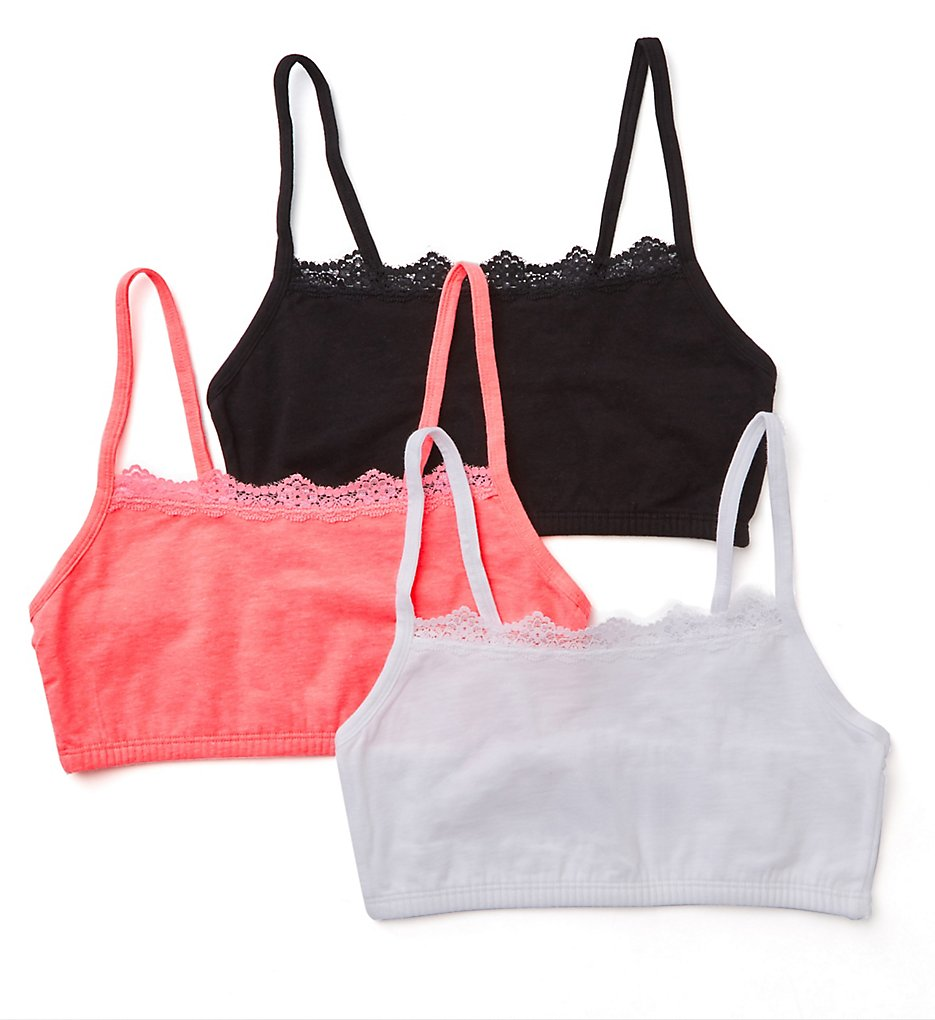 Fruit Of The Loom - Fruit Of The Loom 9036L Spaghetti Strap Lace Trim Short Bra - 3 Pack (Pink/White/Black 32)
