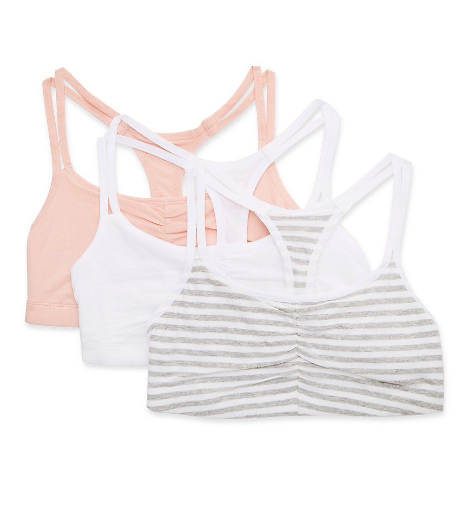 Fruit Of The Loom - Fruit Of The Loom 9036RP Spaghetti Strap Removable Pads Bra - 3 Pack (Stripe/White/Blush 44)