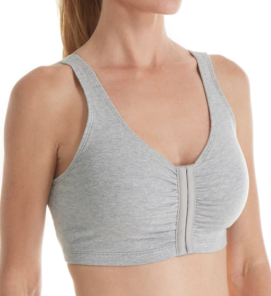 Fruit Of The Loom - Fruit Of The Loom 96014 Comfort Cotton Blend Front Close Sports Bra (Heather Grey 48)