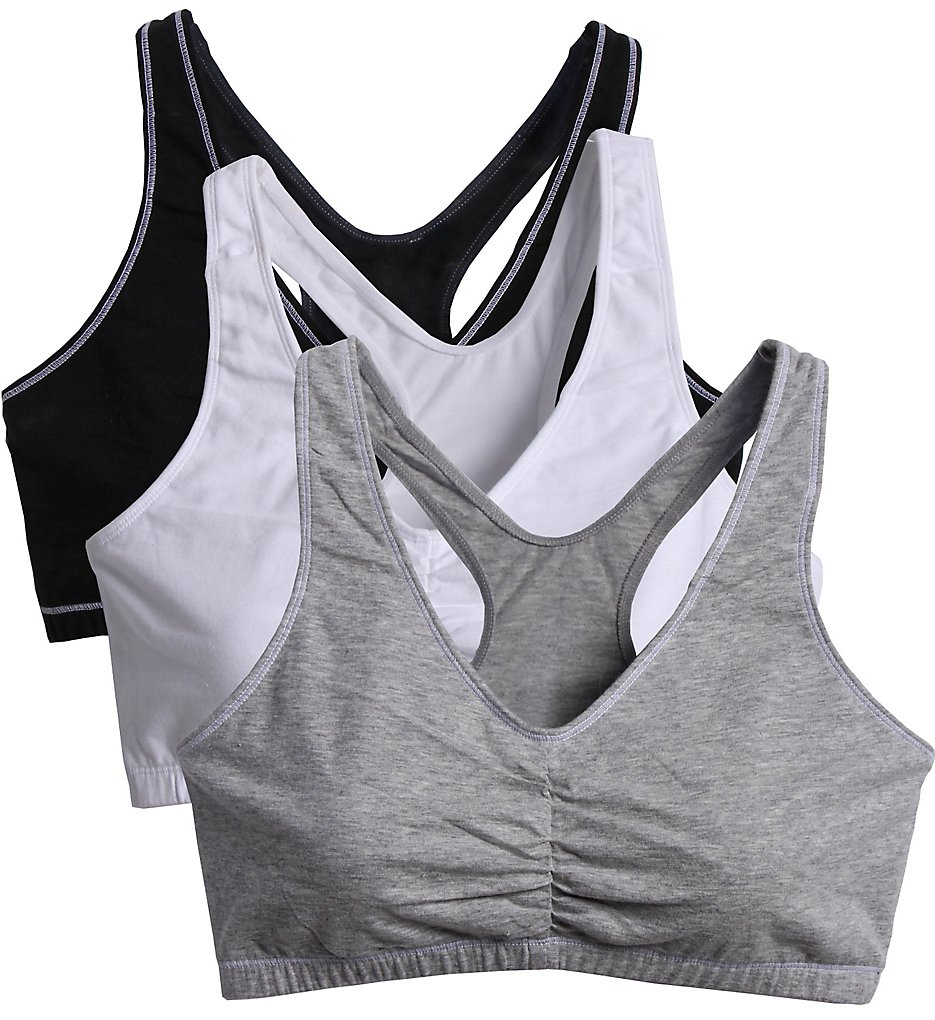 Fruit Of The Loom - Fruit Of The Loom FT170 Total Comfort Racerback Bras - 3 Pack (White/Grey/Black 34)