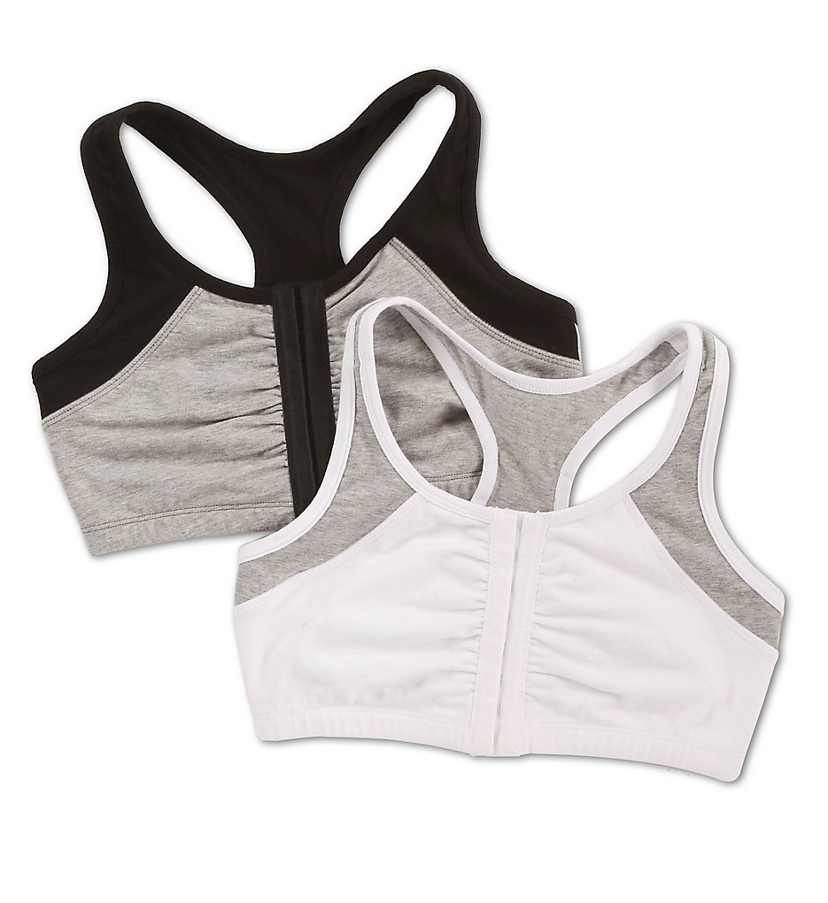 Fruit Of The Loom - Fruit Of The Loom FT390 Moisture Control Racerback Sports Bra - 2 Pack (White Grey/Black Grey 34)
