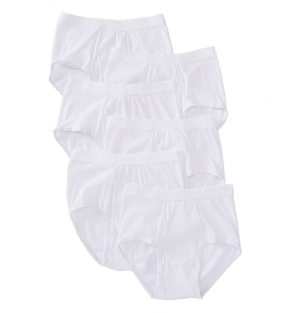 Fruit Of The Loom JC6P761 Premium Cotton Briefs - 6 Pack (White)
