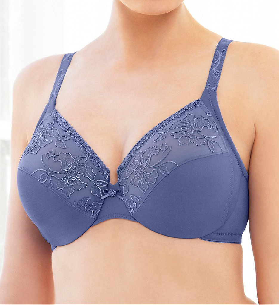 Glamorise >> Glamorise 9075 Elegance Embroidered Wonderwire Bra (Purple 34C)