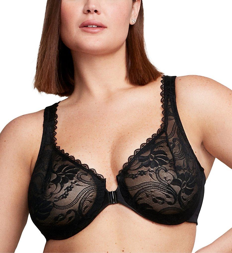 Glamorise 9245 Elegance Stretch Lace Front Close Wonderwire Bra (Black)
