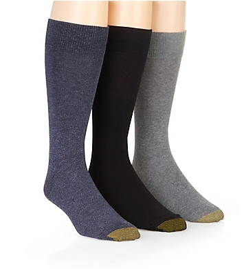 Gold Toe Flat Knit Crew Socks - 3 Pack