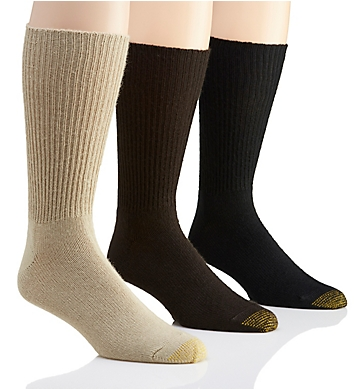 Gold Toe Fluffies 1x1 Rib Crew Socks - 3 Pack