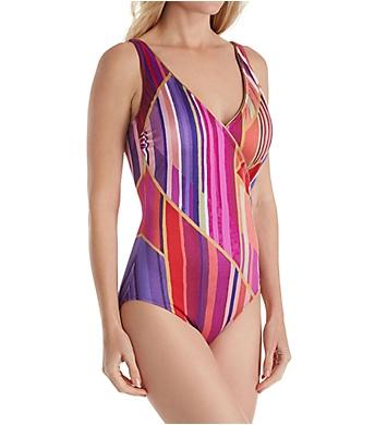 Gottex Art Deco Surplice One Piece Swimsuit