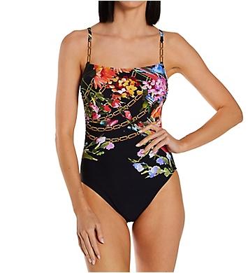 Gottex Flora Straight Neck Tank One Piece Swimsuit