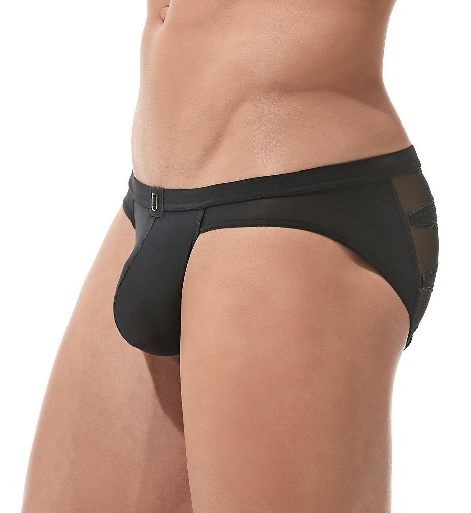 gregg homme 160203 high-line laser cut embroidered brief (black xl)