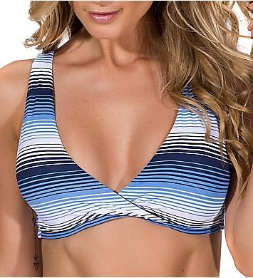 Guria Beachwear Blue Ombre Stripes Strappy Back Sporty Swim Top