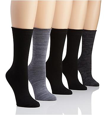 H Halston Roll Top Crew Sock - 5 Pack