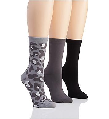 H Halston Pattern Microfiber Nylon Crew Sock - 3 Pack