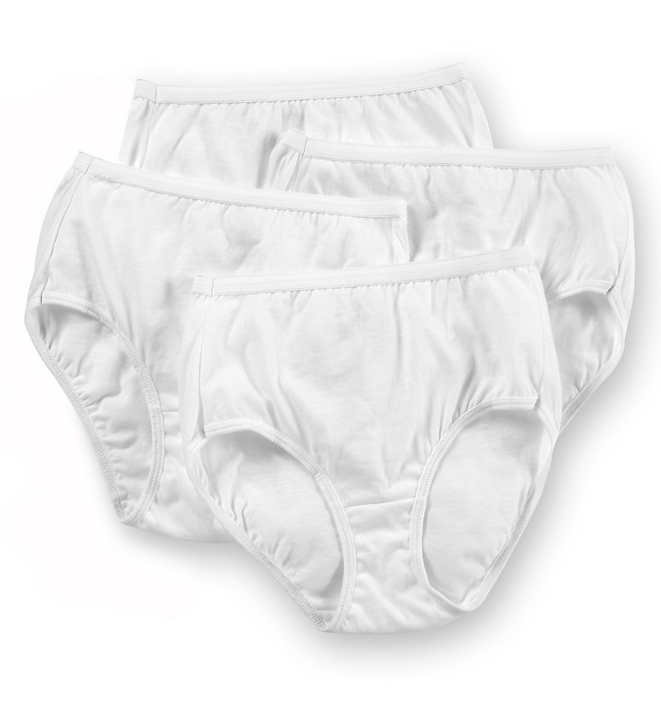 Hanes : Hanes 40KUB1 100% Cotton Brief Panty - 4 Pack (White 6)