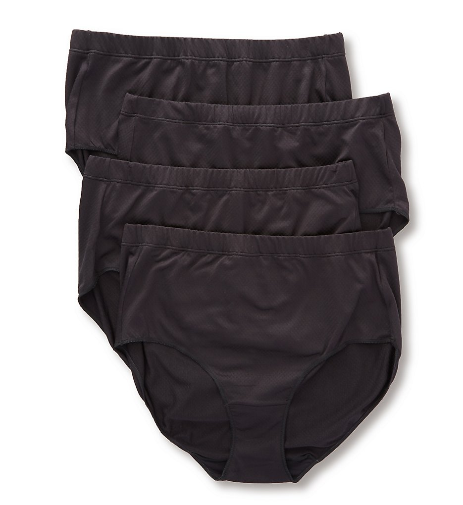 Hanes : Hanes 40ULBF Ultra Light Breathable Brief Panty - 4 Pack (BlackBlackBlackBlack 5)