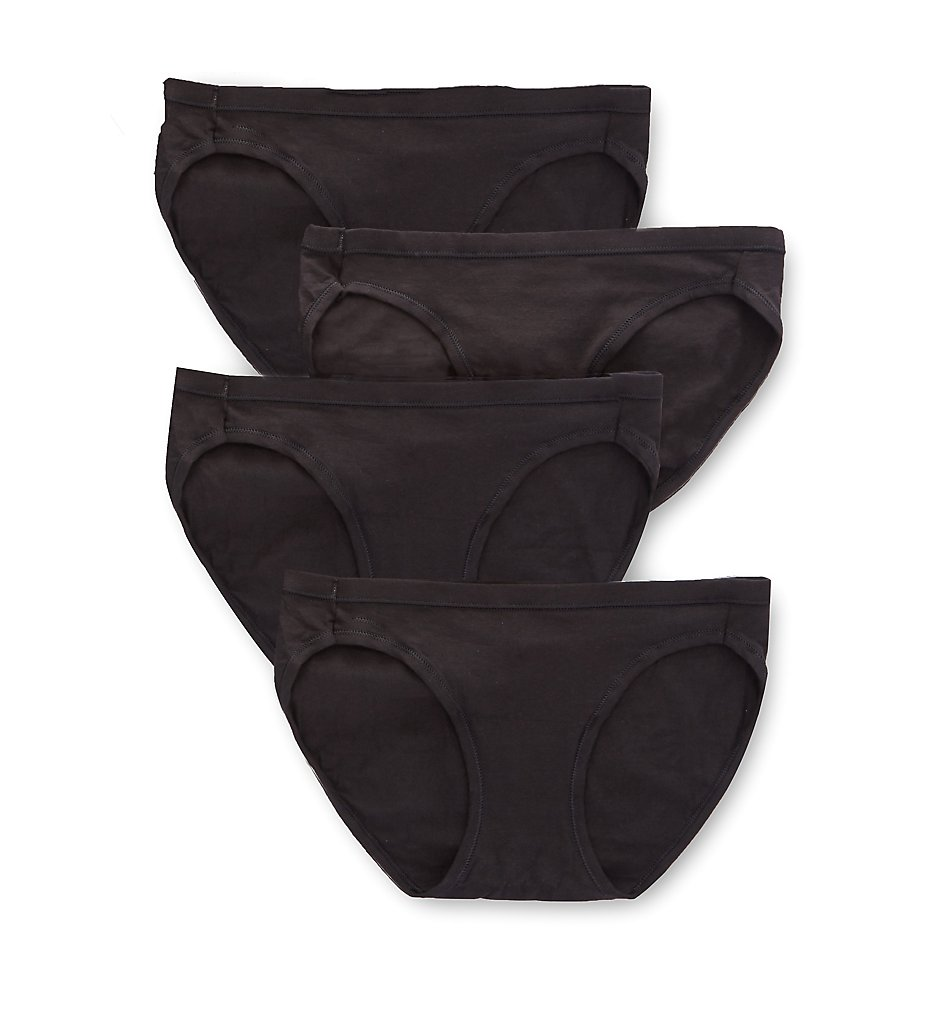 Hanes - Hanes 42CSWB Cotton Stretch Waistband Bikini Panty - 4 Pack (Black 5)