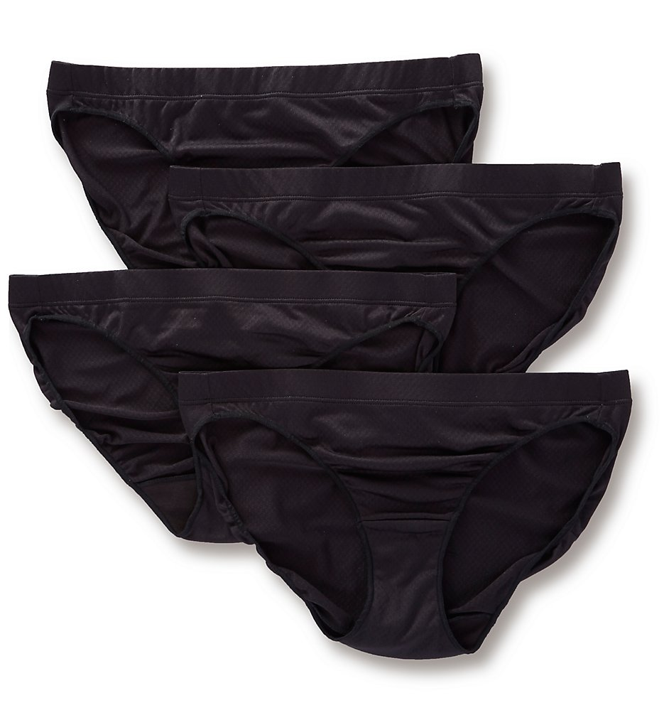 Hanes : Hanes 42ULBK Ultra Light Breathable Bikini Panty - 4 Pack (BlackBlackBlackBlack 5)