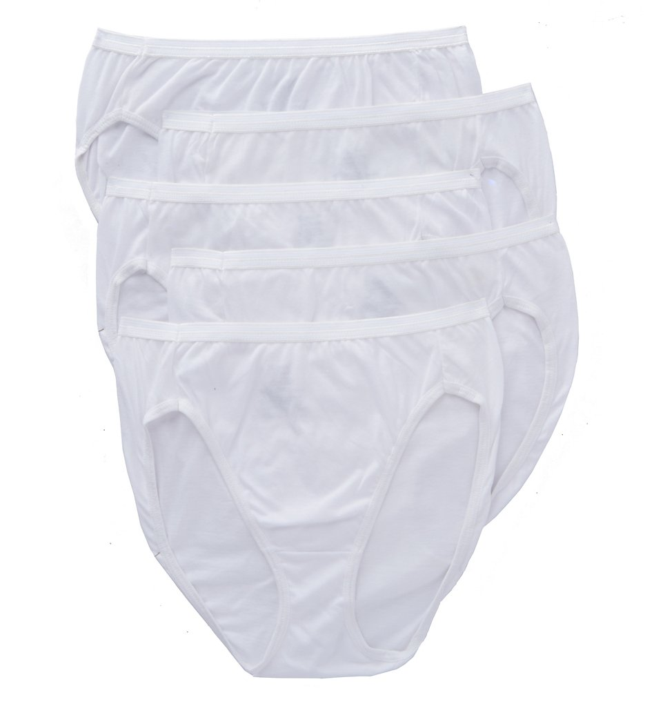 Hanes - Hanes 43HUCC Ultimate Core Cotton Hi-Cut Panty - 5 Pack (White 5)