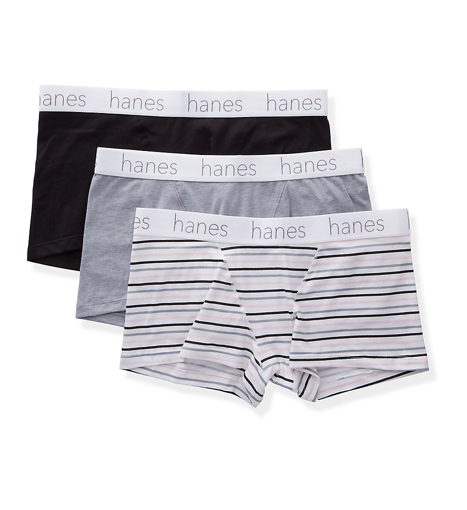 Hanes - Hanes 45UCBB Classic Boxer Brief Panty - 3 Pack (Black/Grey Heather S)