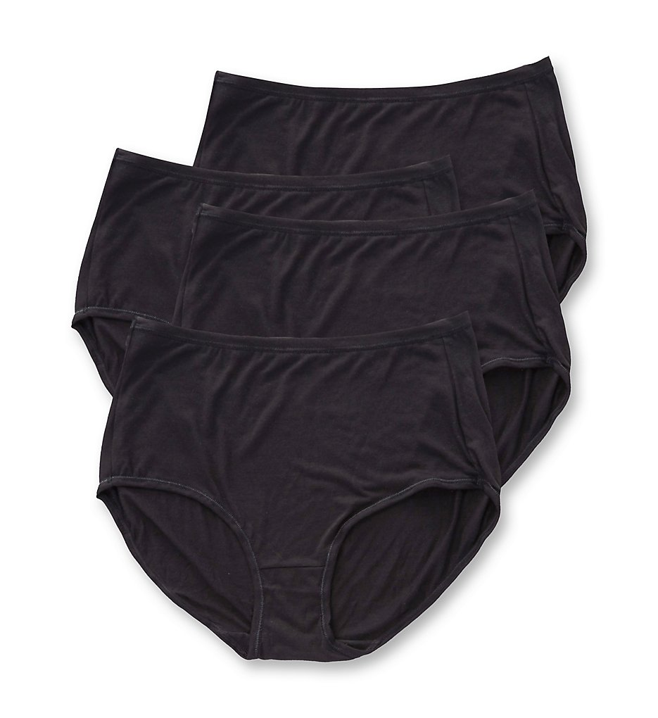 Hanes : Hanes 47HUSB Comfort Soft Brief Panty - 4 Pack (Black 5)