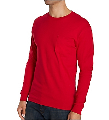 Hanes 100% Cotton Long Sleeve Pocket T-Shirt