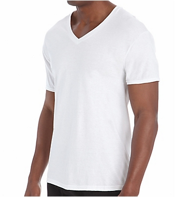 Hanes Original Cotton White V-Neck T-Shirts - 3 Pack