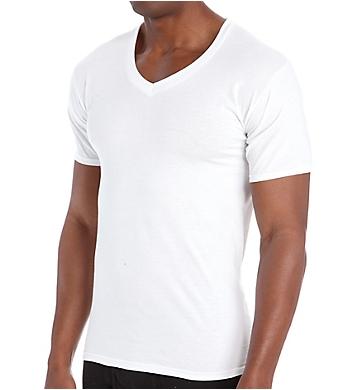Hanes Premium Cotton White V-Neck T-Shirts - 6 Pack
