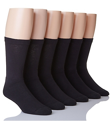 Hanes Classic Cotton Black Crew Socks - 6 Pack