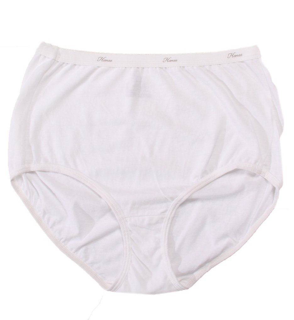 Hanes : Hanes D40L Cotton Brief Panties - 3 Pack (White 6)