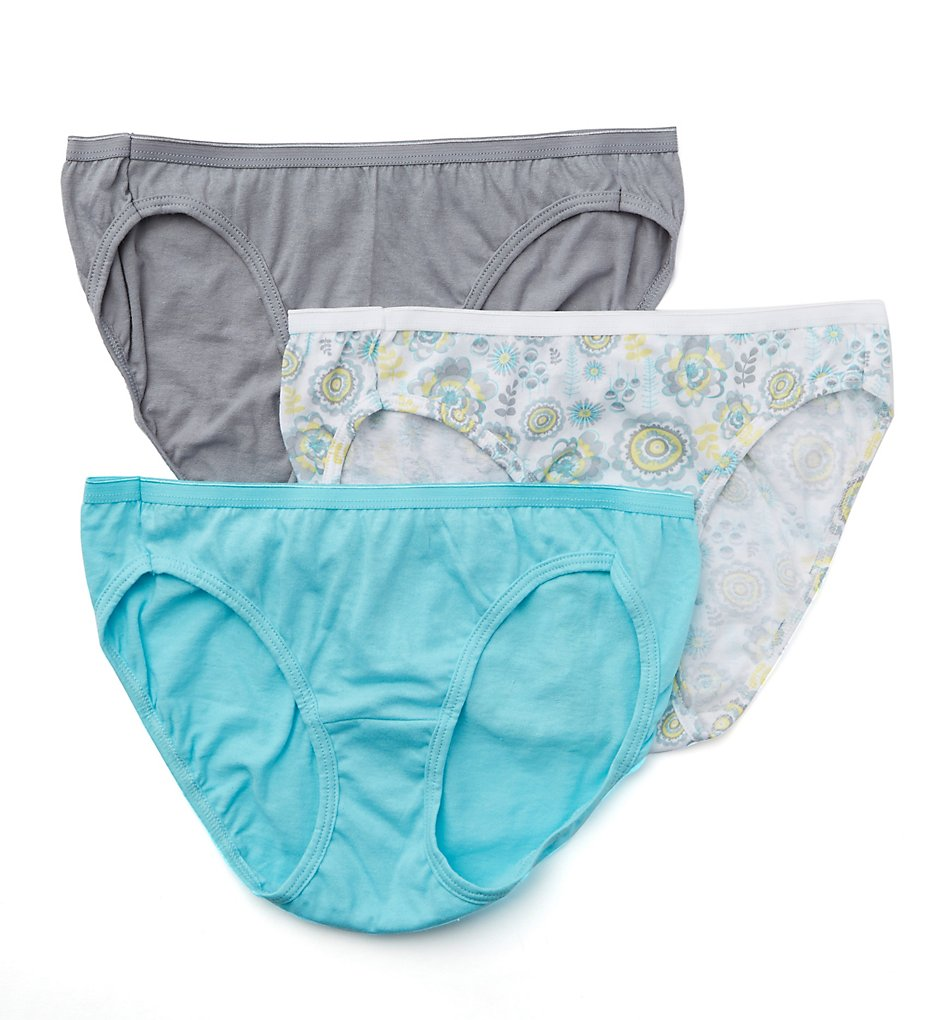 Hanes : Hanes D42L Cotton Bikini Panties - 3 Pack (Assorted 5)