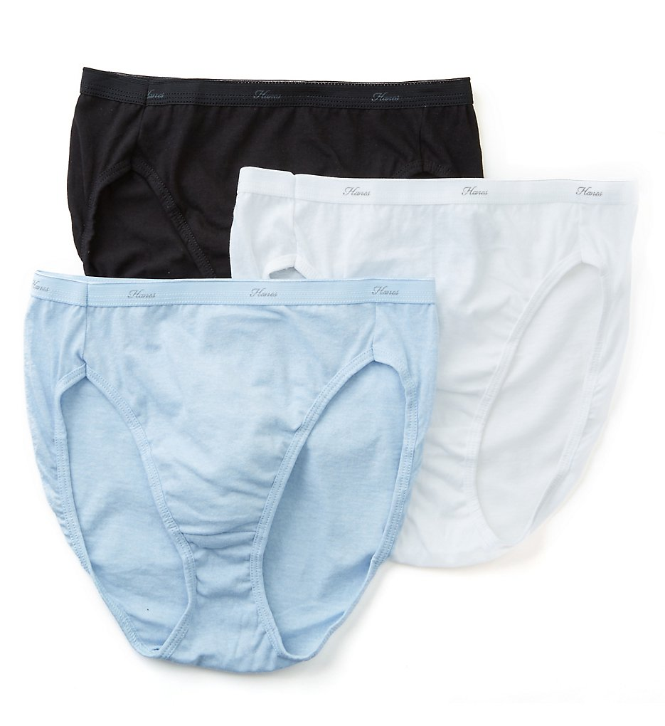 Hanes : Hanes D43L Cotton Hi Cut Panties - 3 Pack (Assorted 6)