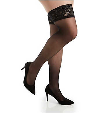 Hanes Curves Plus Lace Band Silky Sheer Thigh High